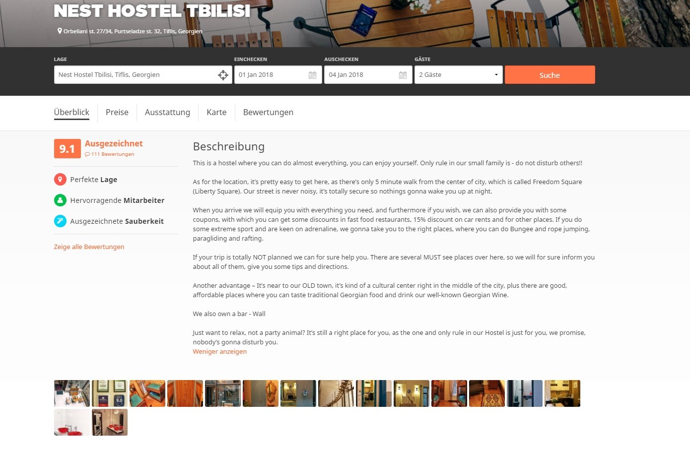 Georgien Unterkünfte Hostel